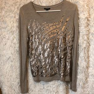 LAFAYETTE 148 NEW YORK Taupe Sequin Top